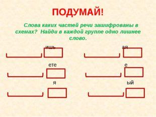 ПОДУМАЙ! Слова каких частей речи зашифрованы в схемах? Найди в каждой группе