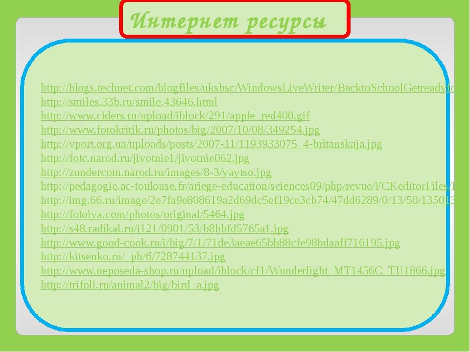 Интернет ресурсы http://blogs.technet.com/blogfiles/uksbsc/WindowsLiveWriter/...