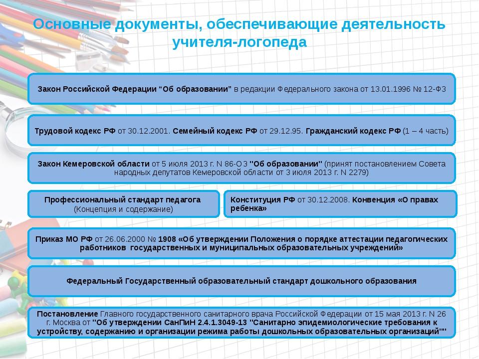 Основные документы, обеспечивающие деятельность учителя-логопеда Трудовой код...