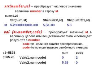 str(number,st) – преобразует числовое значение  величины number в строку