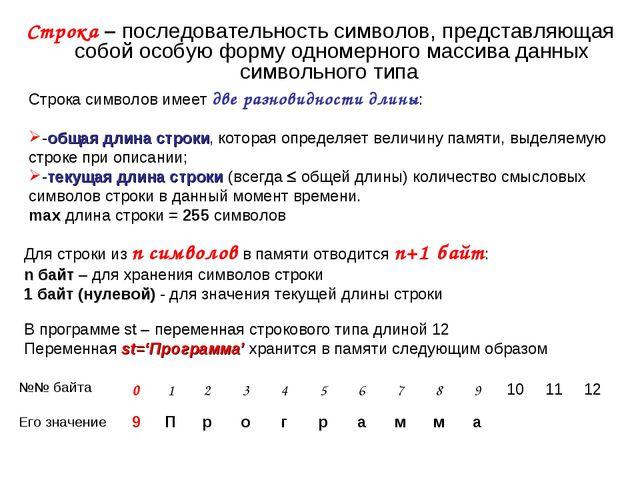 Строка – последовательность символов, представляющая собой особую форму одном...