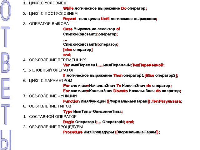 ЦИКЛ С УСЛОВИЕМ While логическое выражение Do оператор; ЦИКЛ С ПОСТУСЛОВИЕ...