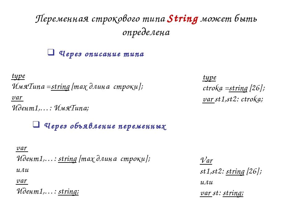 Переменная строкового типа String может быть определена type ctroka =string [...
