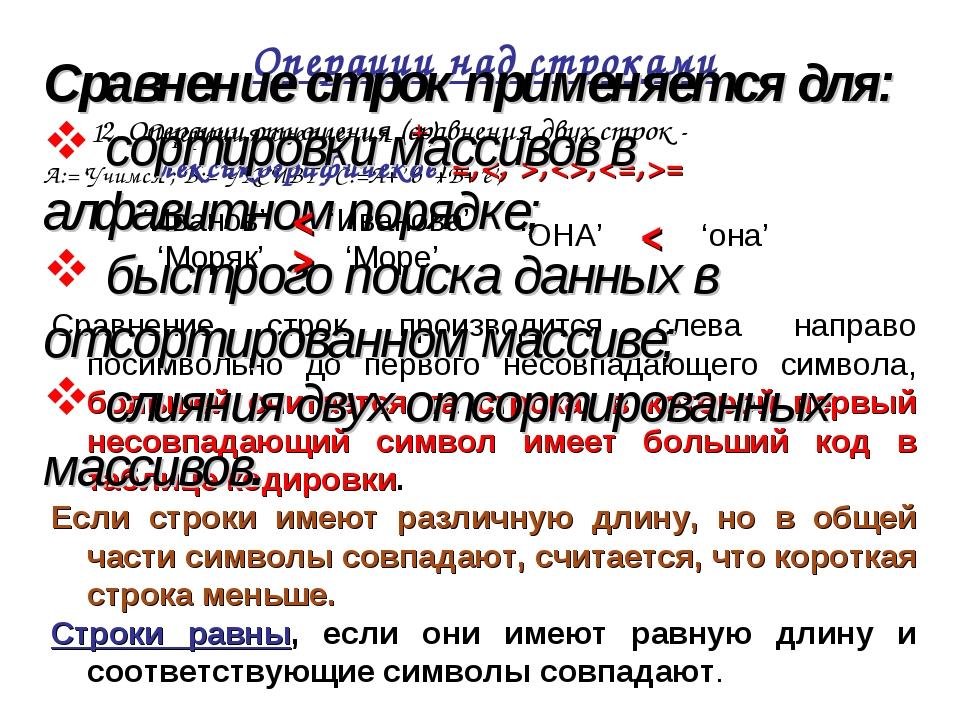 Операции над строками Операция сцепления (+) A:='Учимся'; B:='УКСИВТ'; С:=A+'...