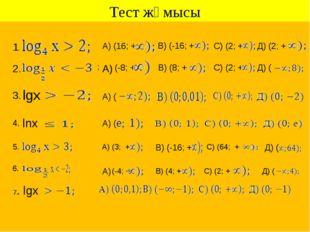 Тест жұмысы 1. А) (16; + В) (-16; + С) (2; + Д) (2; + ; 2. (-8; + А) В) (8; +