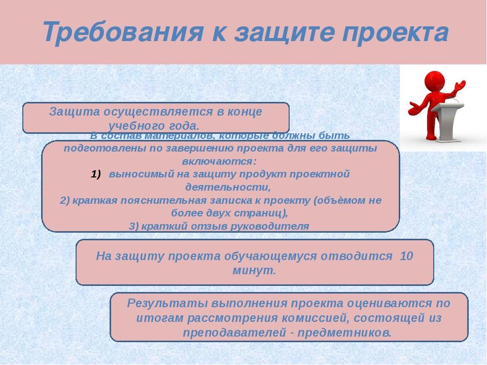 Требования к защите проекта Защита осуществляется в конце учебного года. В со...