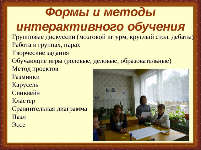 Формы и методы интерактивного обучения * Групповые дискуссии (мозговой штурм,...