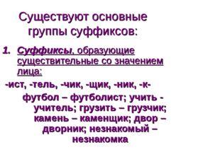 Существуют основные группы суффиксов: Суффиксы, образующие существительные со