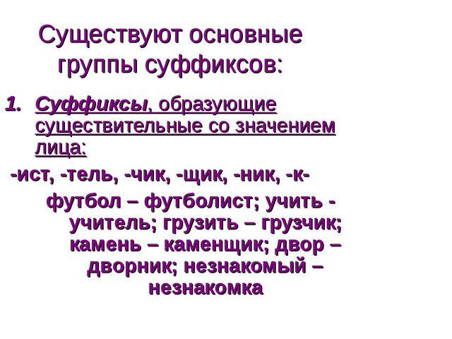 Существуют основные группы суффиксов: Суффиксы, образующие существительные со...