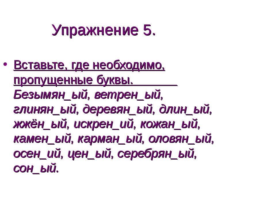 Упражнение 5. Вставьте, где необходимо, пропущенные буквы. Безымян_ый, ветрен...
