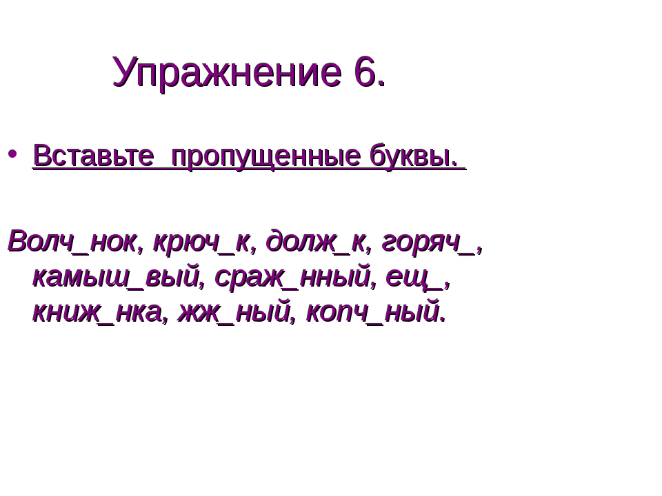 Упражнение 6. Вставьте пропущенные буквы. Волч_нок, крюч_к, долж_к, горяч_, к...