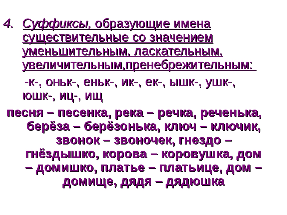 Суффиксы, образующие имена существительные со значением уменьшительным, ласка...