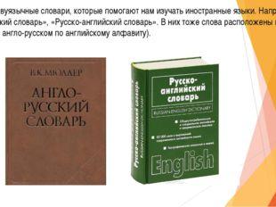 Бывают и двуязычные словари, которые помогают нам изучать иностранные языки.