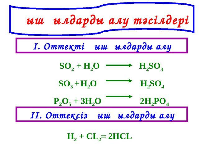 Қышқылдарды алу тәсілдері І. Оттекті қышқылдарды алу ІІ. Оттексіз қышқылдарды...