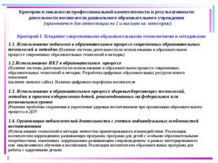 Критерии и показатели профессиональной компетентности и результативности дея