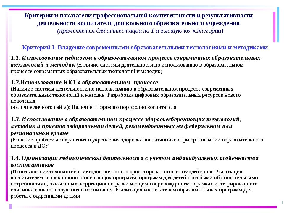Критерии и показатели профессиональной компетентности и результативности дея...