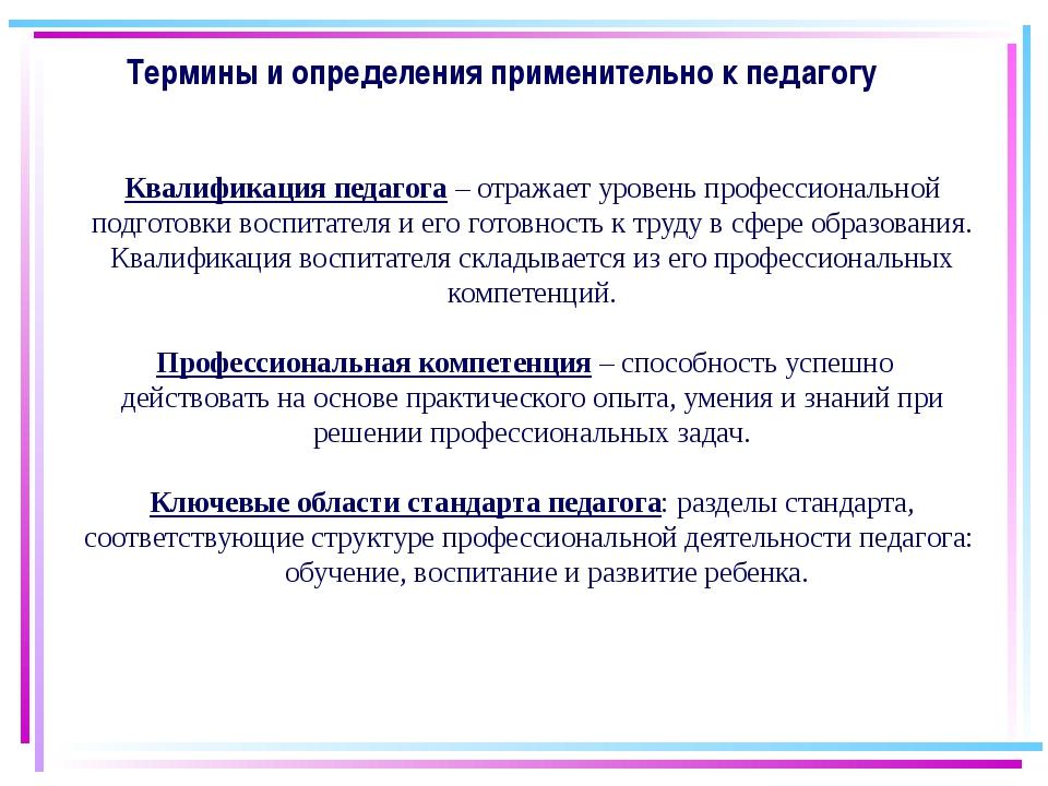 27.08.2015 Термины и определения применительно к педагогу Квалификация педаго...