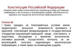 Конституция Российской Федерации «Каждый имеет право на благоприятную окружа