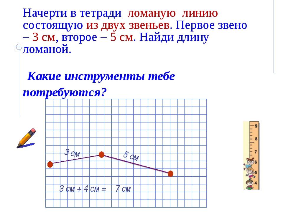 Начерти в тетради ломаную линию состоящую из двух звеньев. Первое звено – 3...