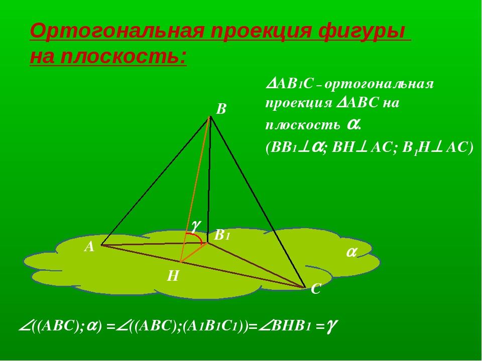 Ортогональная проекция фигуры на плоскость: В А С В1  Н  АВ1С – ортогональ...