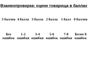 Взаимопроверка: оцени товарища в баллах 5 баллов4 балла3 балла2 балла1 ба