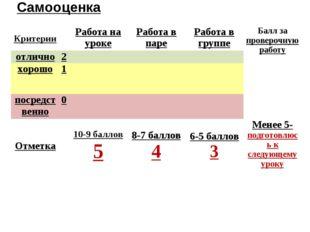 Самооценка КритерииРабота на урокеРабота в пареРабота в группеБалл за пр