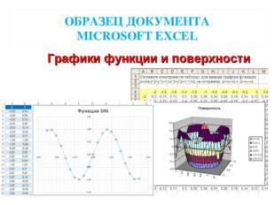 ОБРАЗЕЦ ДОКУМЕНТА MICROSOFT EXCEL Графики функции и поверхности