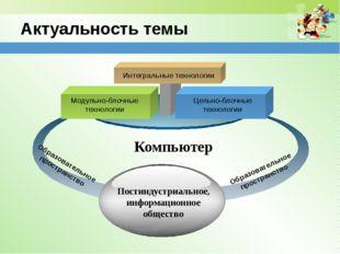 Актуальность темы Модульно-блочные технологии Цельно-блочные технологии Интег