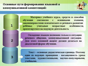 Основные пути формирования языковой и коммуникативной компетенций: Материал