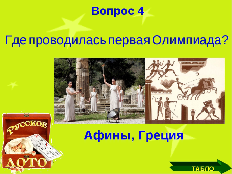 ТАБЛО Вопрос 4 Где проводилась первая Олимпиада?
