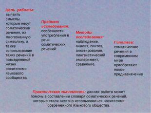 Цель работы: выявить смыслы, которые несут соматические речения, их многознач
