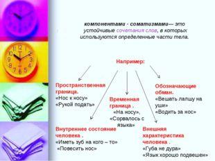 Соматические речения или фразеологи́змы с компонентами - соматизмами— это уст