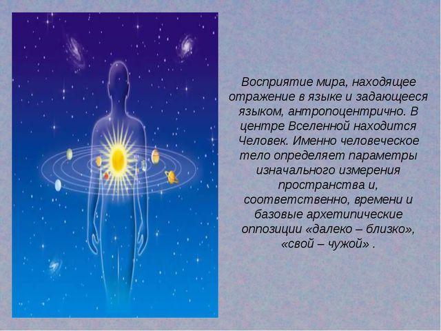 Восприятие мира, находящее отражение в языке и задающееся языком, антропоцент...