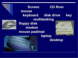 Screen CD Rom mouse keyboard disk drive key multitasking floppy disk modem m