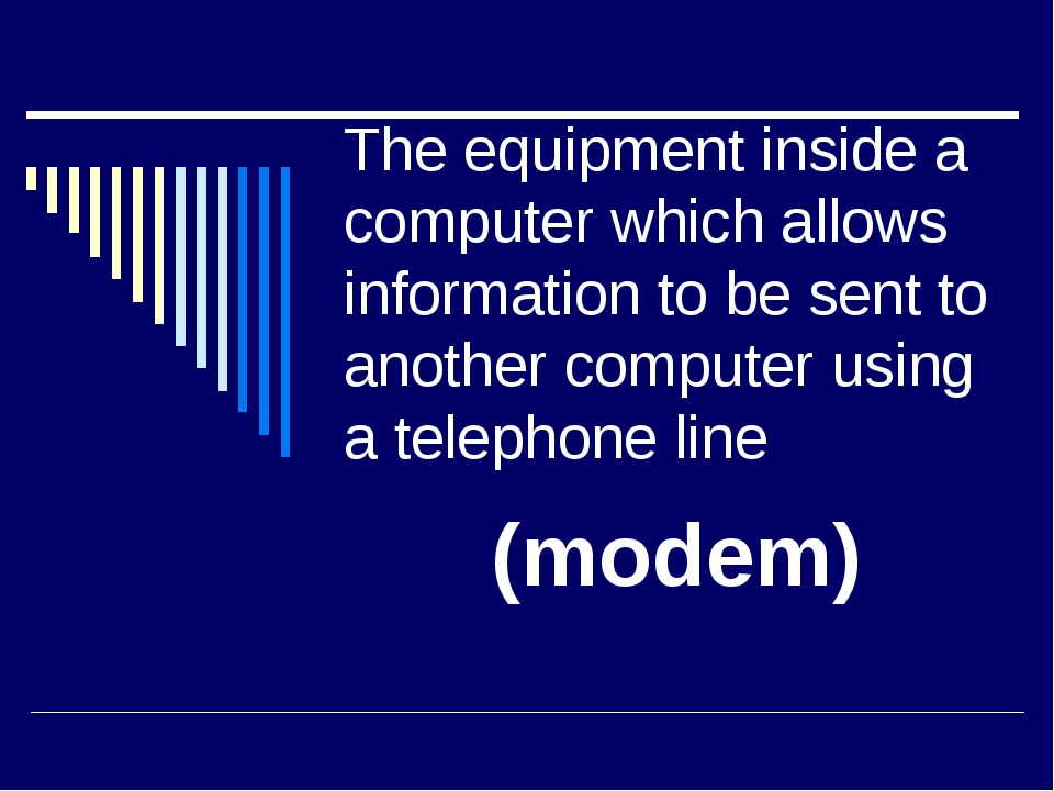 The equipment inside a computer which allows information to be sent to anothe...