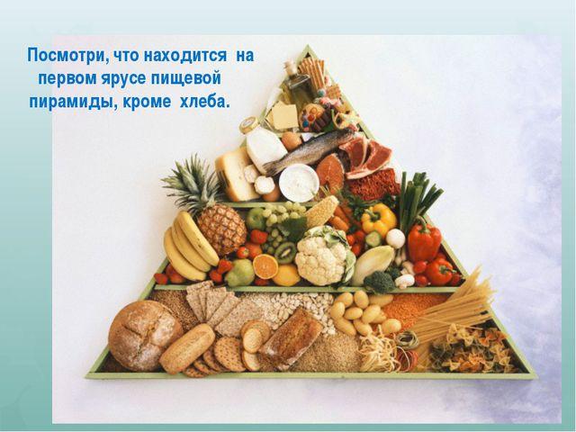 Посмотри, что находится на первом ярусе пищевой пирамиды, кроме хлеба.