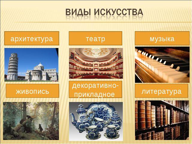 архитектура живопись театр музыка литература декоративно-прикладное