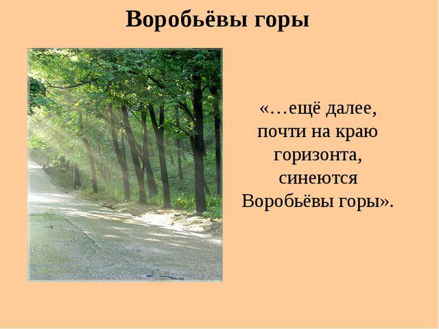 «…ещё далее, почти на краю горизонта, синеются Воробьёвы горы». Воробьёвы горы