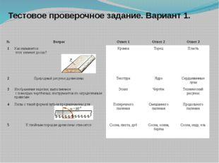 Тестовое проверочное задание. Вариант 1. № Вопрос Ответ 1 Ответ 2 Ответ 3 1