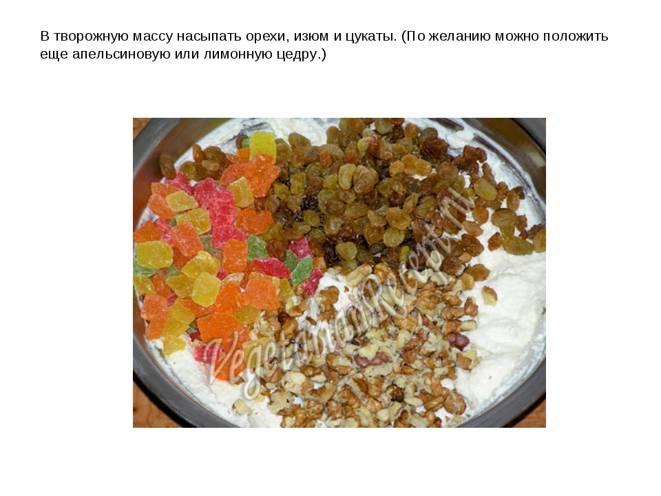 В творожную массу насыпать орехи, изюм и цукаты. (По желанию можно положить е...