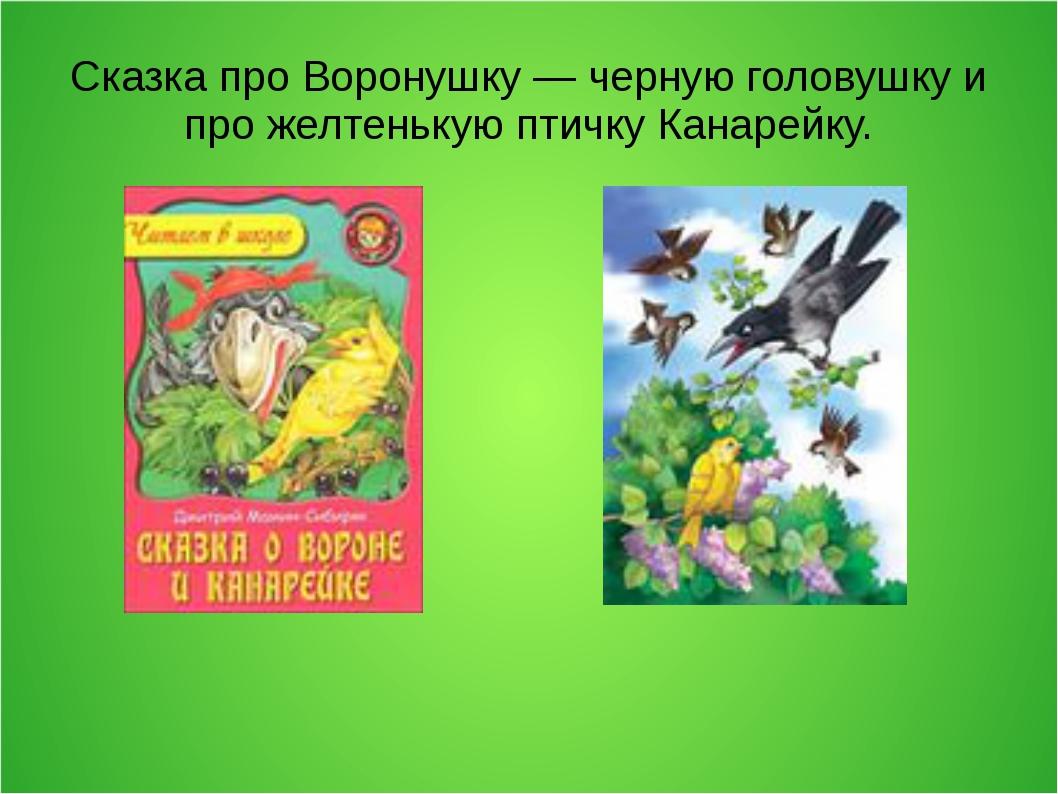 Сказка про Воронушку — черную головушку и про желтенькую птичку Канарейку.