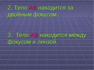 2. Тело АВ находится за двойным фокусом. 3. Тело АВ находится между фокусом и