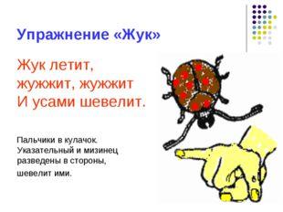 Упражнение «Жук» Жук летит, жужжит, жужжит И усами шевелит. Пальчики в кулачо