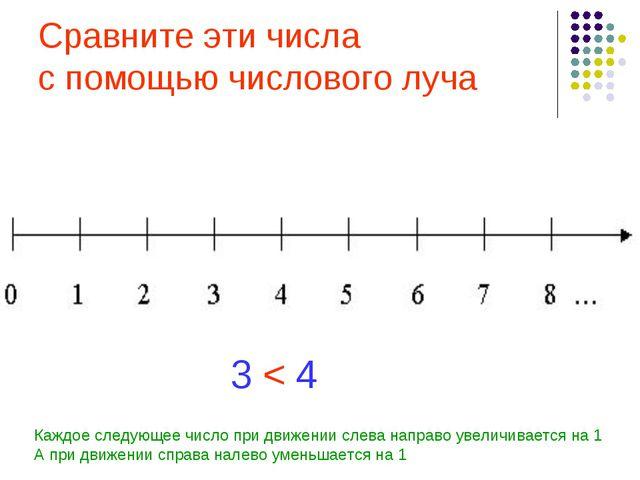 Сравните эти числа с помощью числового луча 3 4 < Каждое следующее число при...