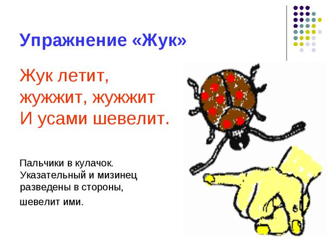 Упражнение «Жук» Жук летит, жужжит, жужжит И усами шевелит. Пальчики в кулачо...