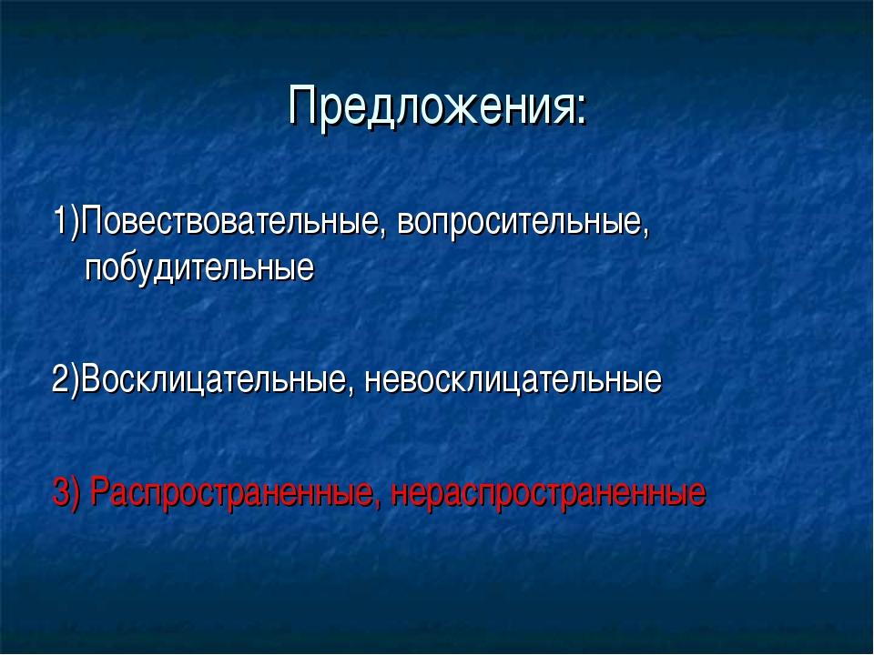 Предложения: 1)Повествовательные, вопросительные, побудительные 2)Восклицател...