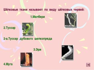 Шёлковые ткани называют по виду шёлковых червей: 1.Малбери 2.Туссар 2-а.Тусса