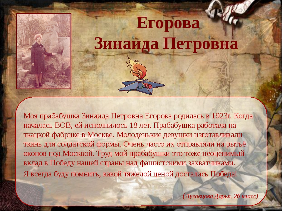 Егорова Зинаида Петровна  Моя прабабушка Зинаида Петровна Егорова родилась в...