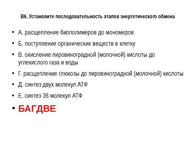 В6. Установите последовательность этапов энергетического обмена А. расщеплени...