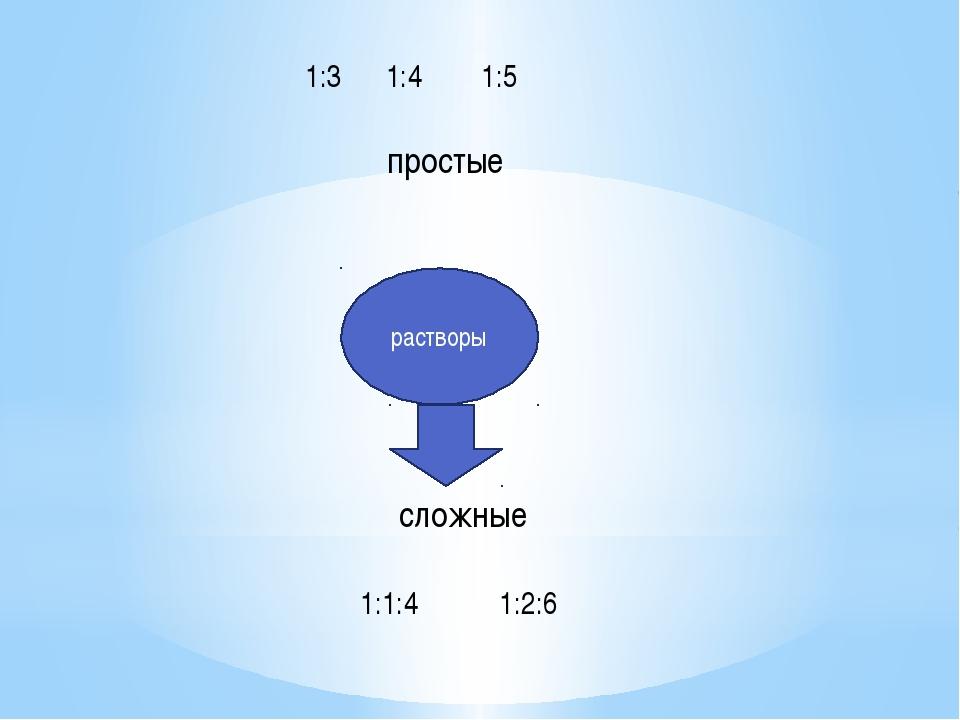 растворы простые сложные 1:3 1:4 1:5 1:1:4 1:2:6
